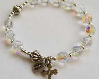 Single decade rosary bracelet - 7 inch