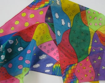 Rainbow Doodle Silk Scarf Pink Smilies/Green Hearts