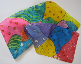 Rainbow Doodle Silk Scarf ROYGBIV
