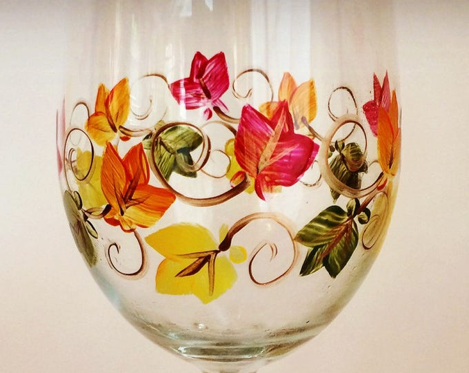 Autumn Leaves Wine Glass hand painted.
