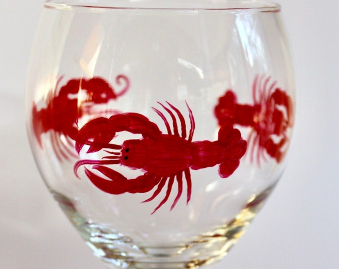 Lobster hand painted wine glass.