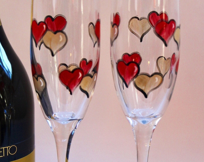 Hand painted Heart champaign flutes