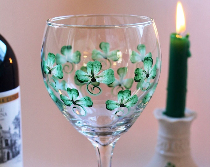 Featured listing image: Shamrock hand painted 20 oz wine glass.