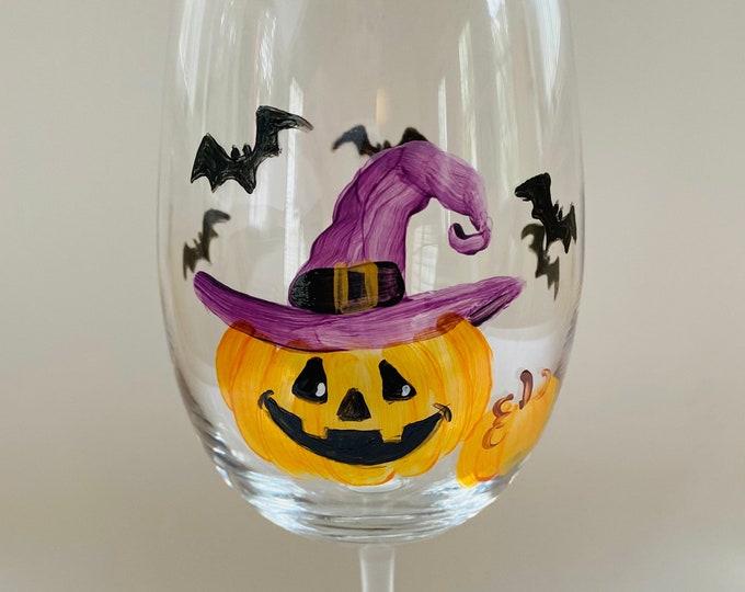 Halloween Pumpkin Witch hand painted wine glass