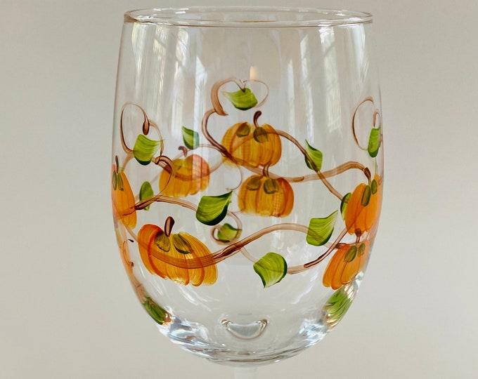 Pumpkin Wine Glass hand painted