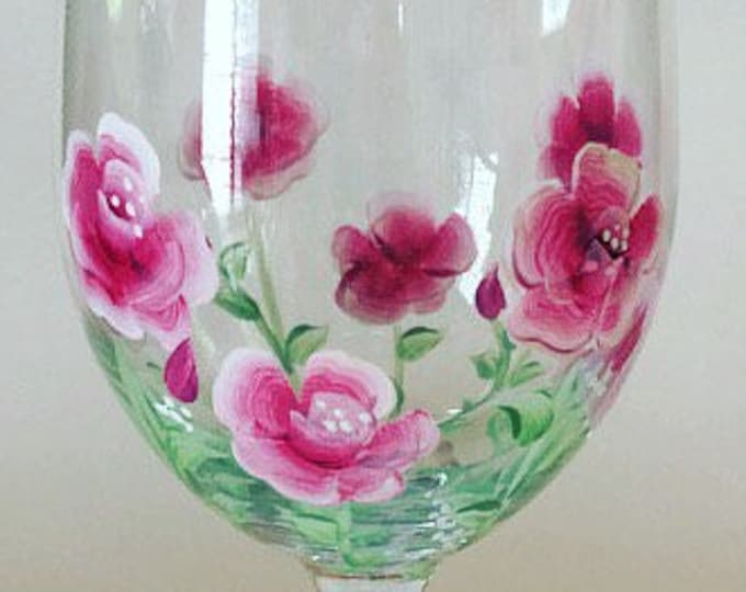 Rose: flower of the month of June wine glass. Hand painted.