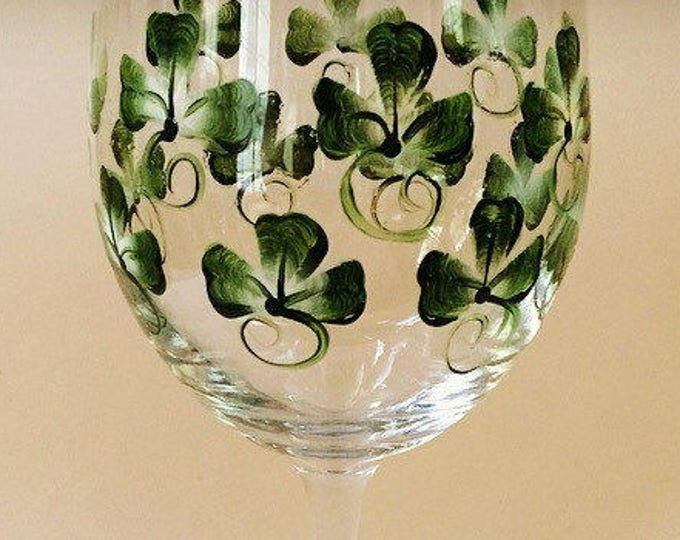 Shamrock hand painted 20 oz wine glass.
