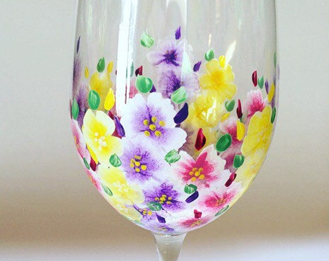 Gladiolus Hand Painted Wine Glass