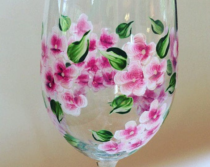 Pink Hydrangea Hand Painted Wine Glass 20 oz.  Made in USA.