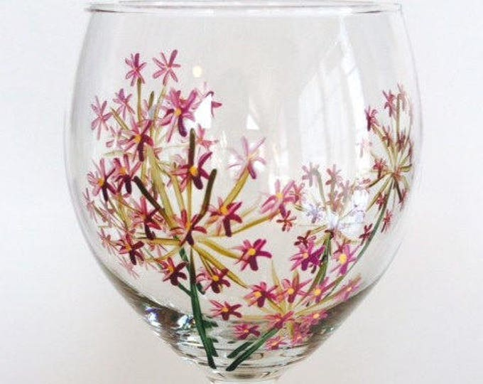 Chive Herb Flower Hand Painted Wine Glass.  Made in USA.