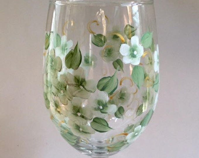 White Hydrangea Wine Glass.  20 oz.  Hand Painted.