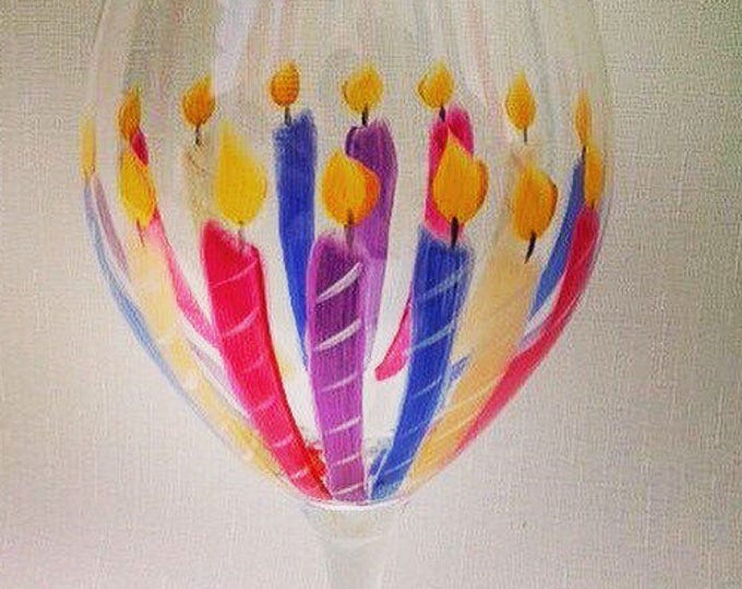 Happy Birthday Wine Glass. 20 oz. Hand painted. Personalized.