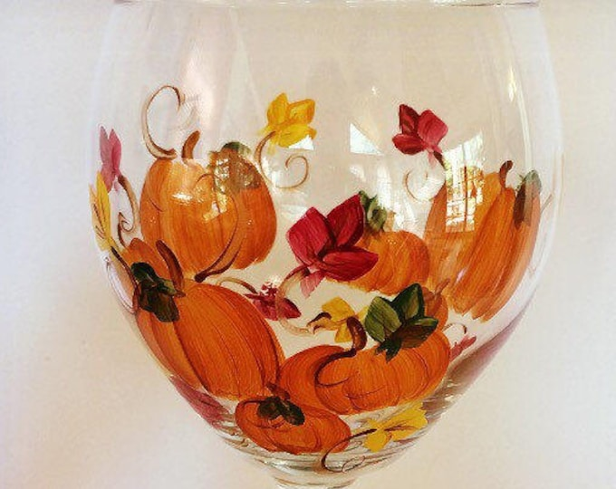 Pumpkin Wine Glass with Fall Leaves. Hand painted.