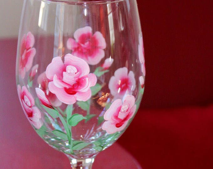 Roses hand painted wine glass. Made in USA
