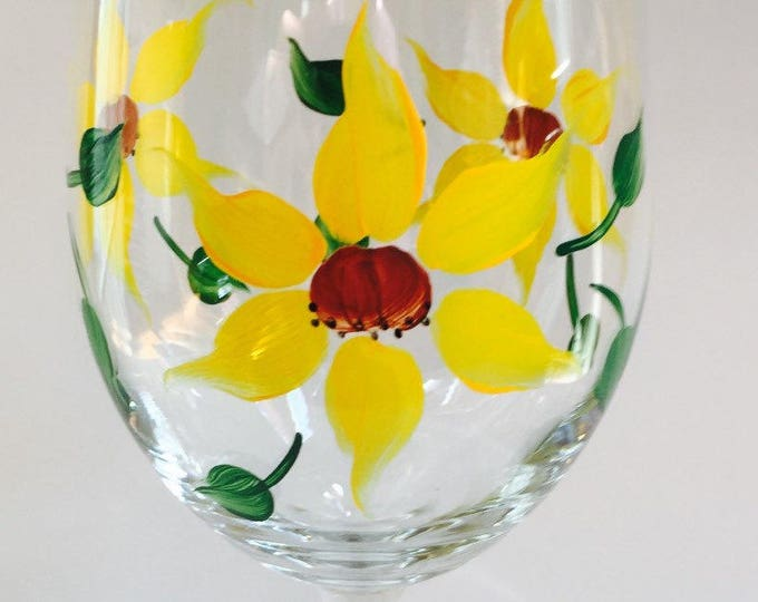 Sunflower Hand Painted Wine Glass, 20  oz.