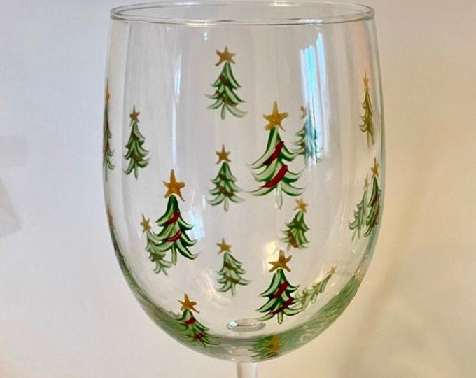Christmas Tree Hand Painted Wine Glass.  Made in USA.