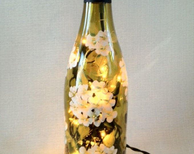 Hand painted white hydrangea wine bottle light