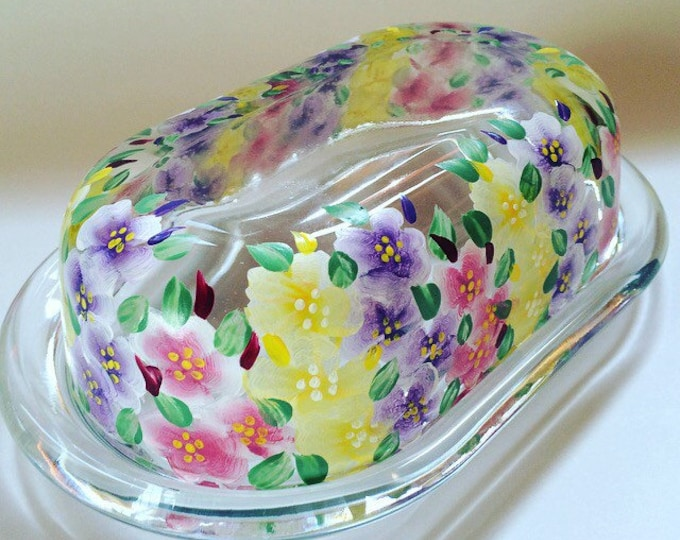 Oversized Glass (but can you ever really have too much) Butter Dish with Hand Painted Gladiolus