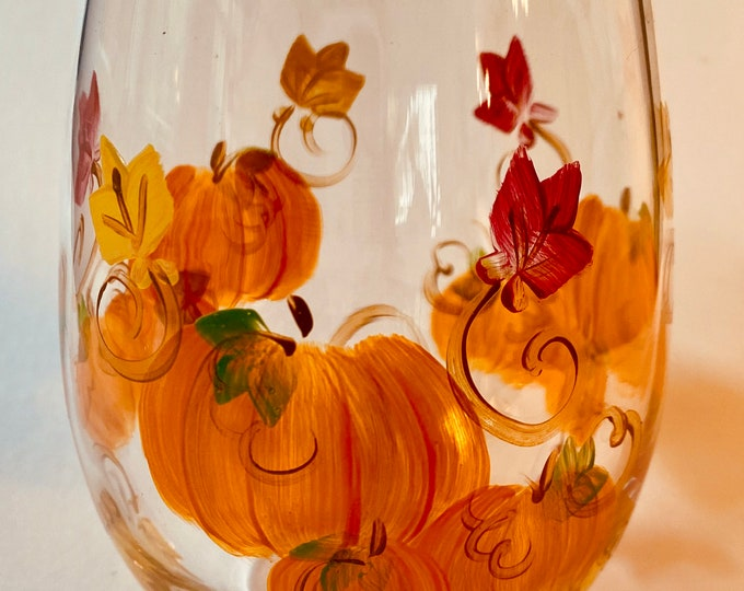 Fall pumpkins and leaves hand painted stemless wine glass.