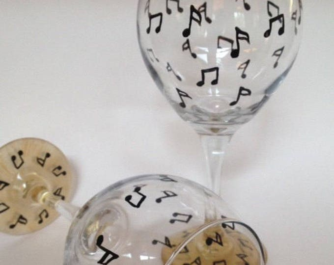 Musical note hand painted wine glasses. Set of 2.