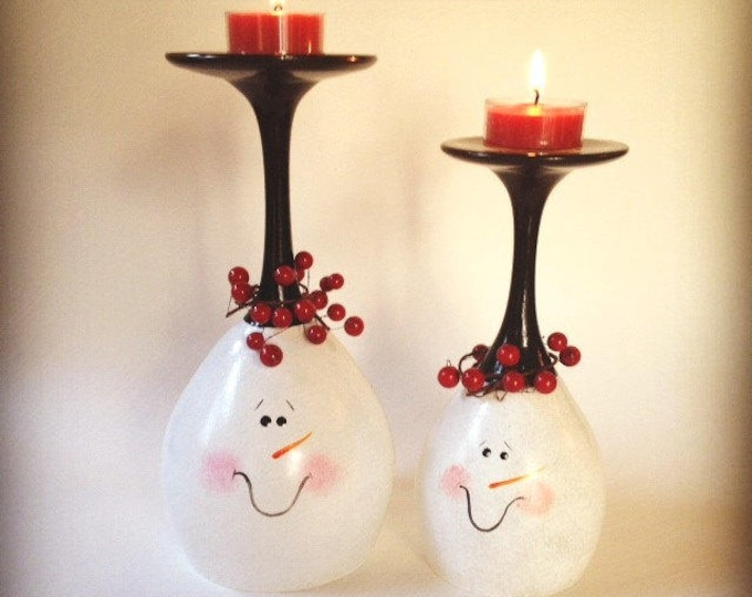 Snowman hand painted wine glass tea light holders, set of two.