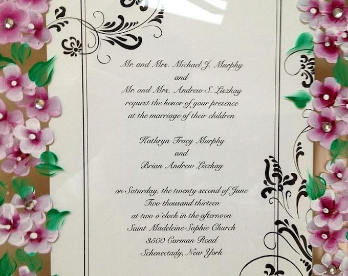 Wedding invitation framed with hand painted wedding flowers.  Custom made.