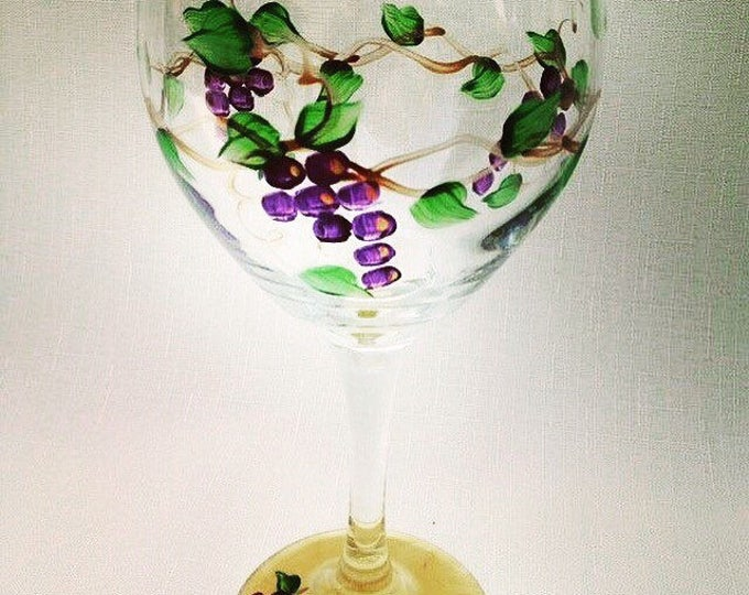 Featured listing image: Grape Vine Hand Painted Wine Glass.  20 oz