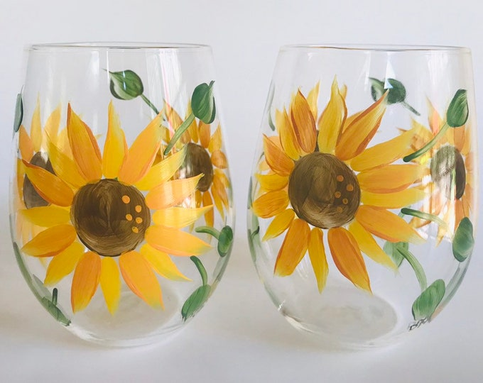 Sunflower Hand Painted stemless wine glasses. Set of two. 21 oz. Ready to ship!