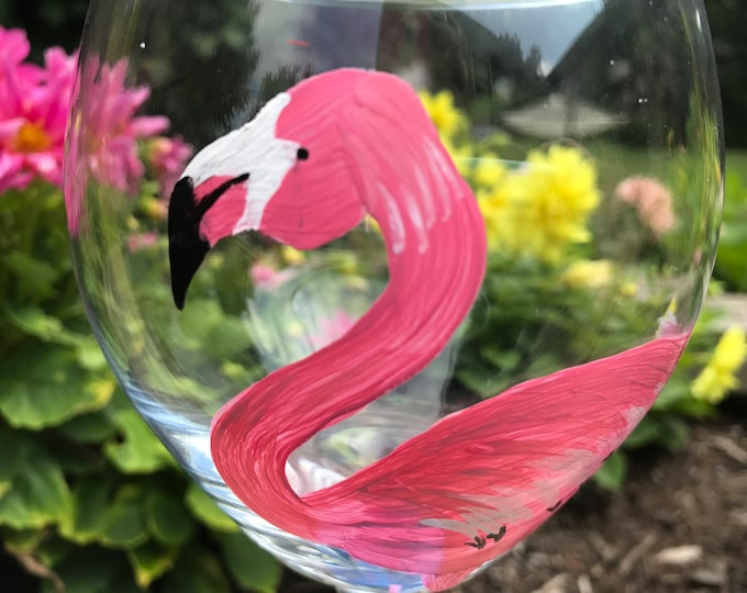 Flamingo Hand Painted Wine Glass