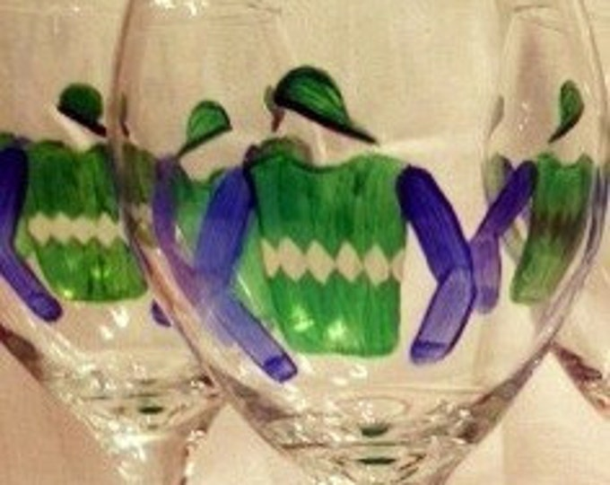 Jockey custom painted wine glass.