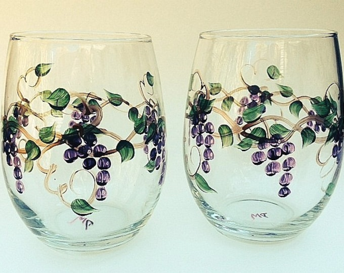 Stemless Grape Hand Painted Wine Glasses. Set of two.