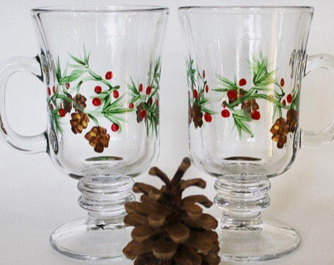 Hand painted pine and berry glass Irish coffee mugs. Set of two.