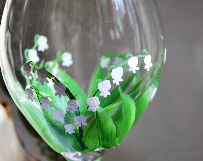 Lily of the Valley hand painted wine glass.