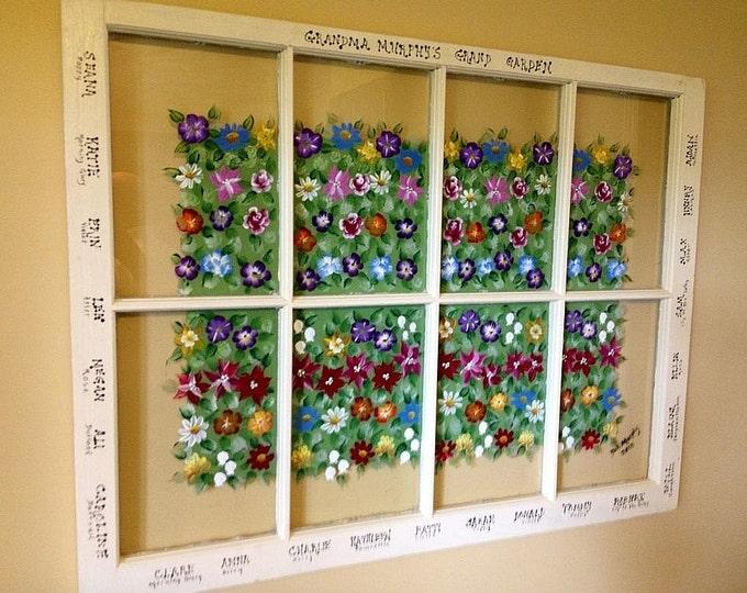 Custom Made Family Garden Window.  Free shipping.  Hand painted birth flower for each family member.