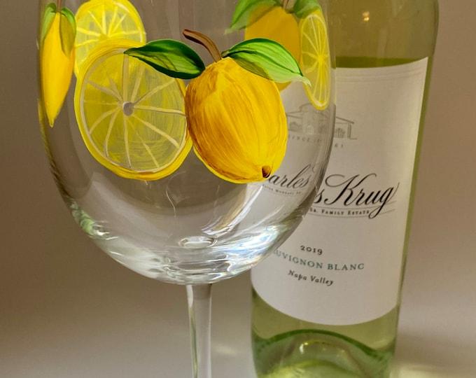 Lemon Hand Painted Wine Glass.  Made in USA.