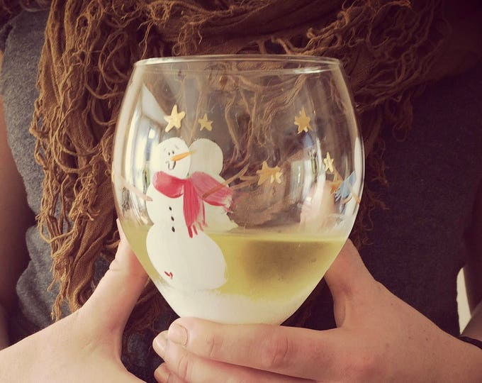 Snowman hand painted wine glass.