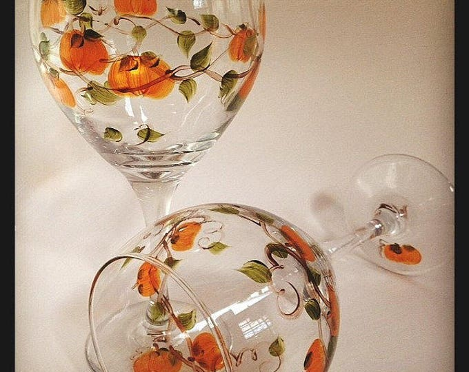 Pumpkin Wine Glasses, hand painted set of 2