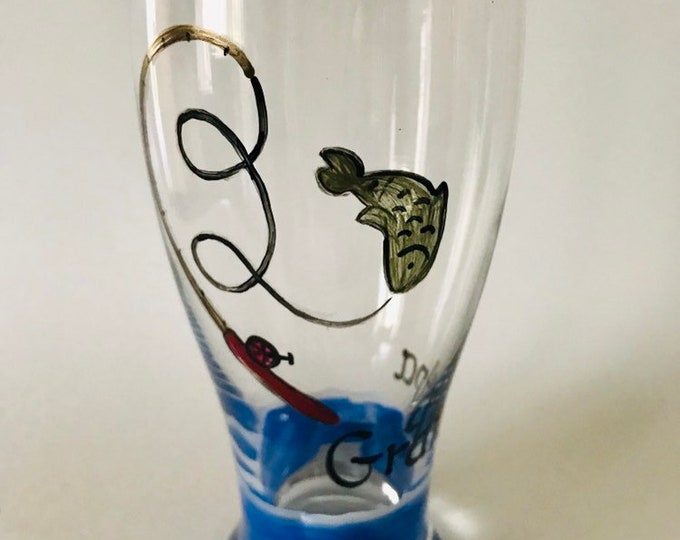 Pilsner hand painted fishing beer glass for Dad.
