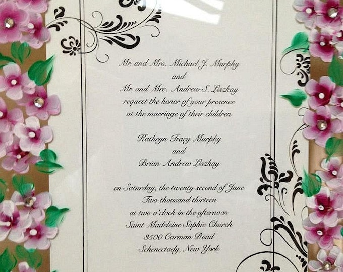Your Wedding Ivitation framed with Your Hand Painted Wedding flowers. Free shipping. Custom made.