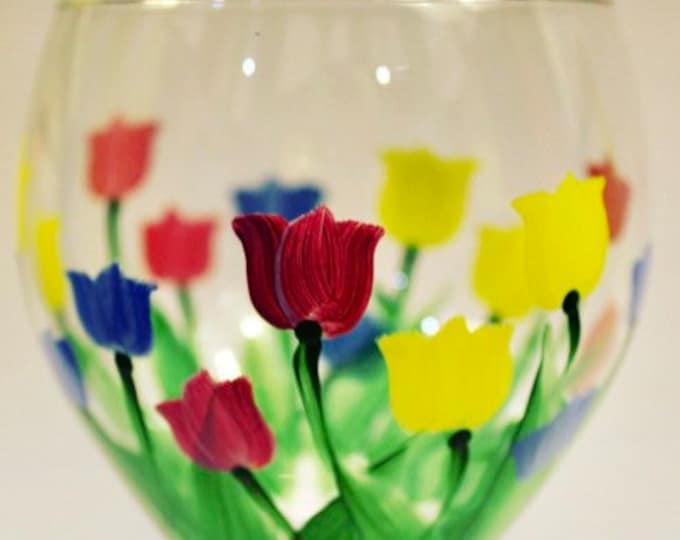 Tulip hand painted wine glass.