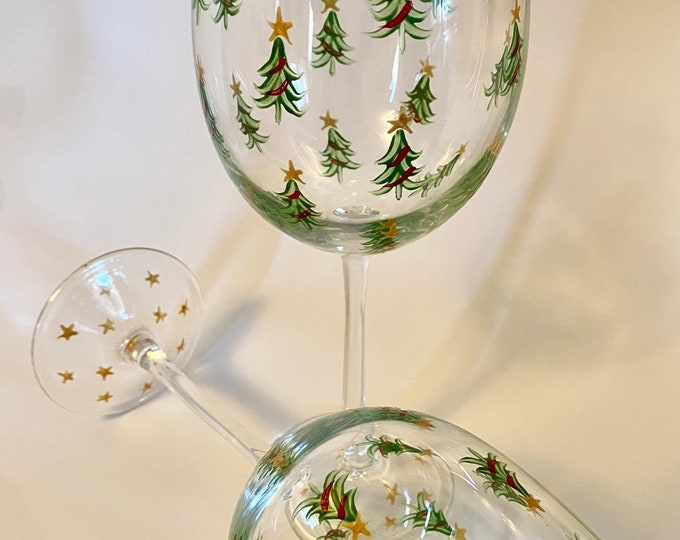 Christmas tree hand painted wine glass. Set of two.