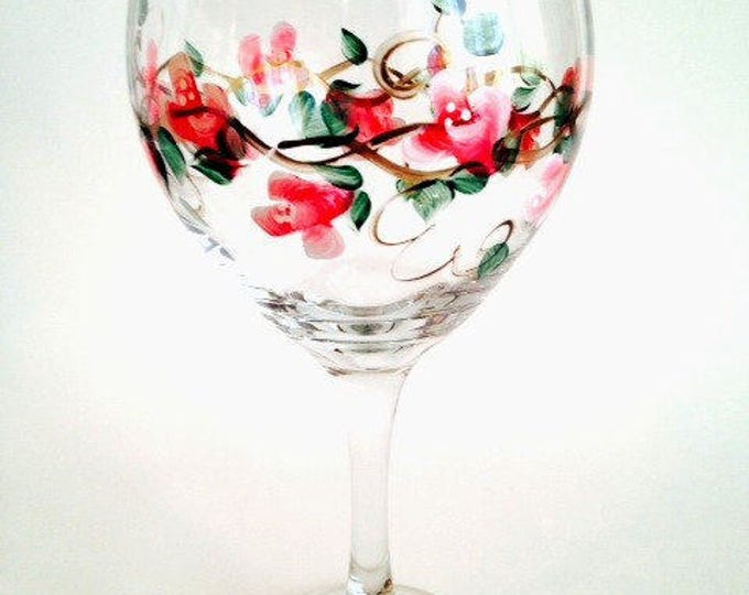 Hand Painted Wine Glass with Red Roses, 20  oz.