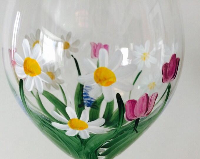 Floral Wine Glass Celebrating Mom.  Made in USA.