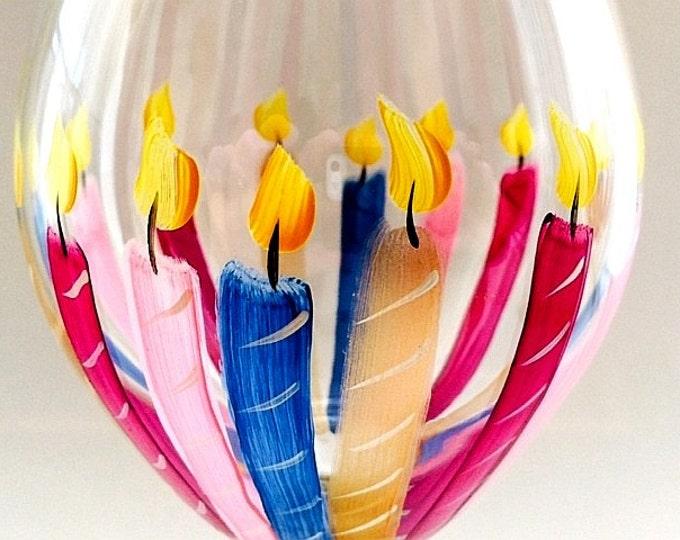 Happy 60th Birthday Wine Glass. 20 oz. Hand painted.
