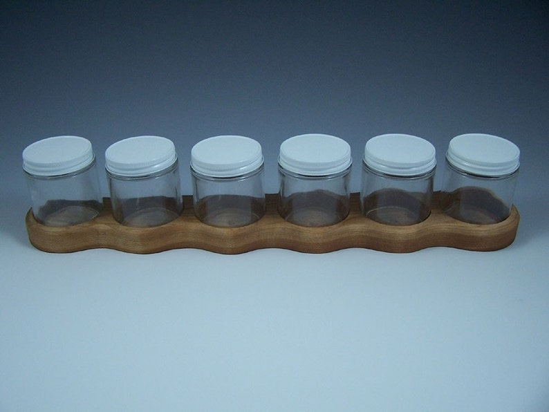 Cherry Wood Watercolor or Acrylic Paint Holders with Six 4 oz image 0