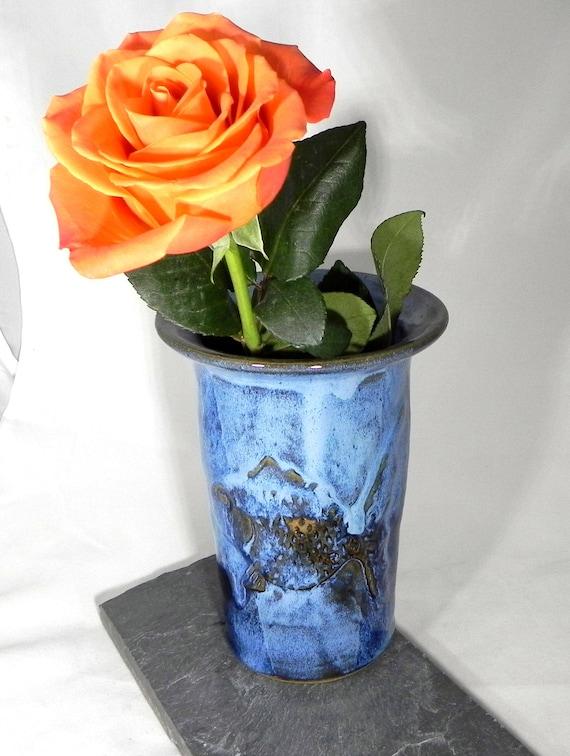 Blue Vase Carved With Fish Stoneware Vase Clay Vase Stoneware Etsy