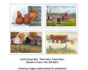 Card Group #3 Rte Notecards Farmhouse Pratt/'s Grocery Pitcher/'s Mills Country decor 79 Yellow Barn Quality Cards Tioga Center Store