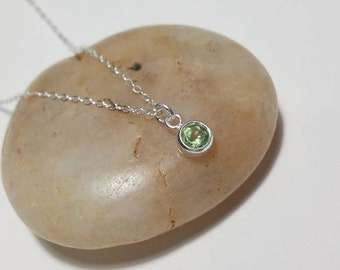August Sterling Silver Necklace - Peridot Necklace, August Birthstone, Handmade Necklace, Cubic Zirconia, Birthday Gift