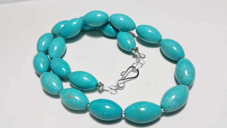 Gemstone Handmade Jewelry Magnesite Turquoise Jewelry Oval Blue Turquoise Necklace Statement Neckace