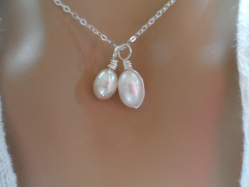 Freshwater Pearl MotherDaughter Pearl Necklace Sterling Silver Necklace REDUCED